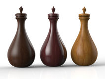 Three wooden bottles Stock Images