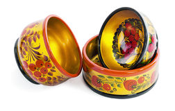 Three wooden  bowls, painted in the style of Khokhloma Royalty Free Stock Photo