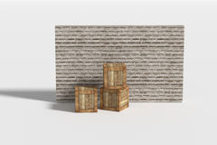 Three wooden boxes near brick wall Royalty Free Stock Photo