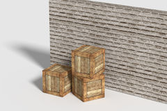 Three wooden boxes near brick wall Royalty Free Stock Images