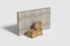 Three wooden boxes near brick wall Royalty Free Stock Photography