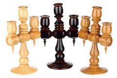 Three wooden candlesticks Royalty Free Stock Photography