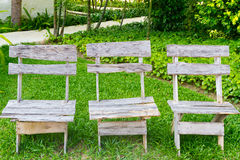 Three wooden chairs Stock Photography