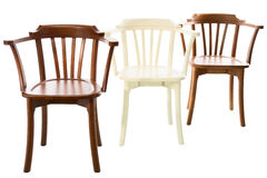Three wooden chairs royalty free stock image