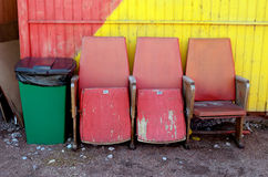 Three wooden chairs. Royalty Free Stock Images