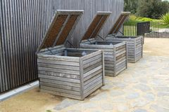 Three Wooden Composting Bins Stock Photo
