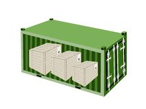 Three Wooden Crates in A Cargo Container Royalty Free Stock Image