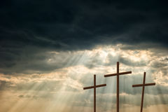Free Three Wooden Crosses Royalty Free Stock Photography - 40195717