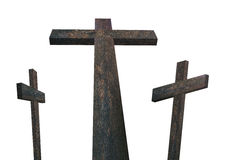 Three Wooden Crosses (image isolated on white background) Royalty Free Stock Photo