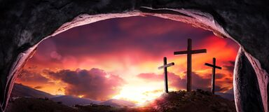 Three Wooden Crosses And Sunrise From Open Tomb
