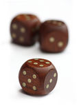 Three wooden dice Royalty Free Stock Image