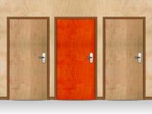 Three wooden doors Royalty Free Stock Photography