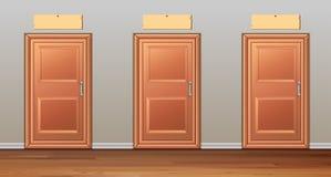 Three wooden doors in the hallway. Illustration Stock Image