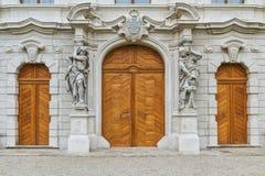 Three wooden dors. Entrance to the monastery three doors Stock Photography