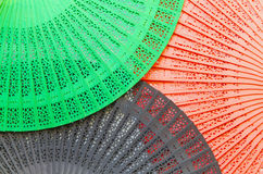 Three wooden fans Royalty Free Stock Photography