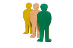 Three wooden figures Stock Photos