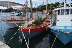 Three wooden fishing boats royalty free stock photos