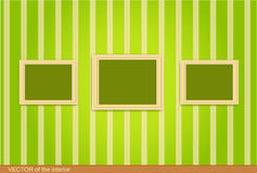 Three wooden frame on the green wall.  Royalty Free Stock Photography