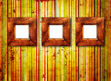 Three wooden frame on old wall Royalty Free Stock Image