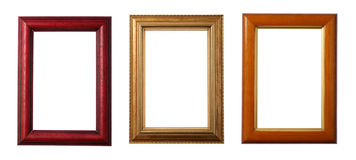Three Wooden Frames stock images