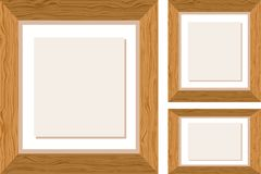 Three wooden frames in different sizes vector illustration