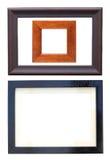 Three wooden frames for photos Stock Photo