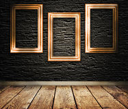 Three wooden frames on a wall. stock illustration