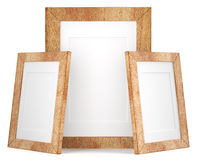 Three wooden frames  on white background Stock Photo
