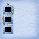 Three wooden frameworks for photo. On the blue abstract background Royalty Free Stock Photography