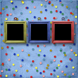 Three wooden frameworks for portraiture. On the abstract background with confetti Royalty Free Stock Image