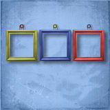 Three wooden frameworks for portraiture. On the abstract background Royalty Free Stock Photo