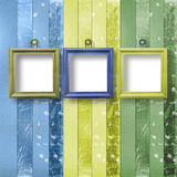 Three wooden frameworks for portraiture. On the abstract background Royalty Free Stock Photos