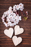 Three wooden hearts placed nicely with cherry blossom flowers Royalty Free Stock Images