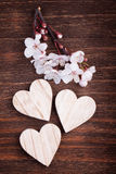 Three wooden hearts placed nicely with spring cherry blossom Stock Images