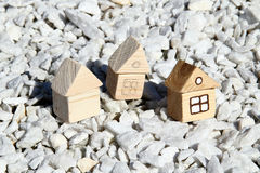Three wooden houses Stock Photography