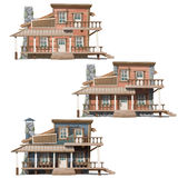 Three wooden houses in Wild West style Stock Photography
