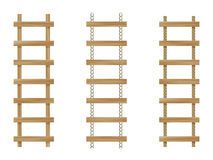 Three wooden ladders stock illustration