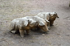 Three wooden pigs (three little ones) Royalty Free Stock Images