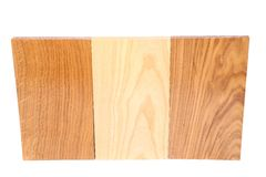 Three wooden plank close-up. Are located on the white background Stock Images
