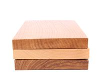 Three wooden plank close-up. Are located on the white background Royalty Free Stock Photo
