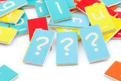 Three wooden question marks Royalty Free Stock Photo