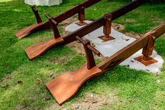 Three wooden seesaw Stock Photography