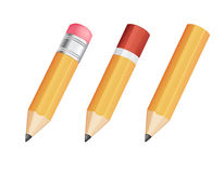 Three wooden sharp pencils Royalty Free Stock Photography