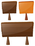 Three wooden signs on white background Stock Photo