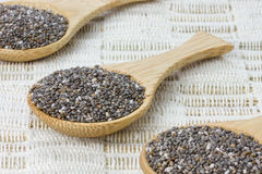 Three wooden spoons with black chia seeds Royalty Free Stock Images