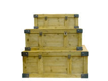 Three wooden stacked chests Stock Photography