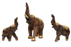 Three wooden statues of elephants Royalty Free Stock Photo