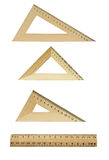 Three wooden triangles and line Royalty Free Stock Images