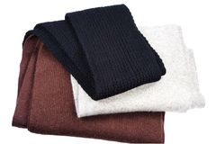 Three woolly scarfs Stock Photography