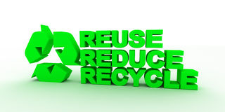 Three words together recycle, reduce , reduce. Royalty Free Stock Image